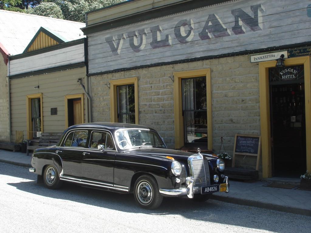 Merc in front of the Vulcan Hotel